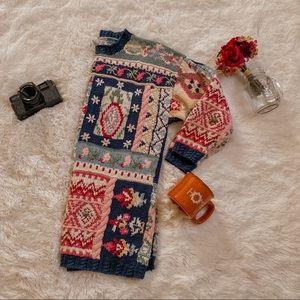 Vintage Grandma Floral Patterned Sweater SZ M